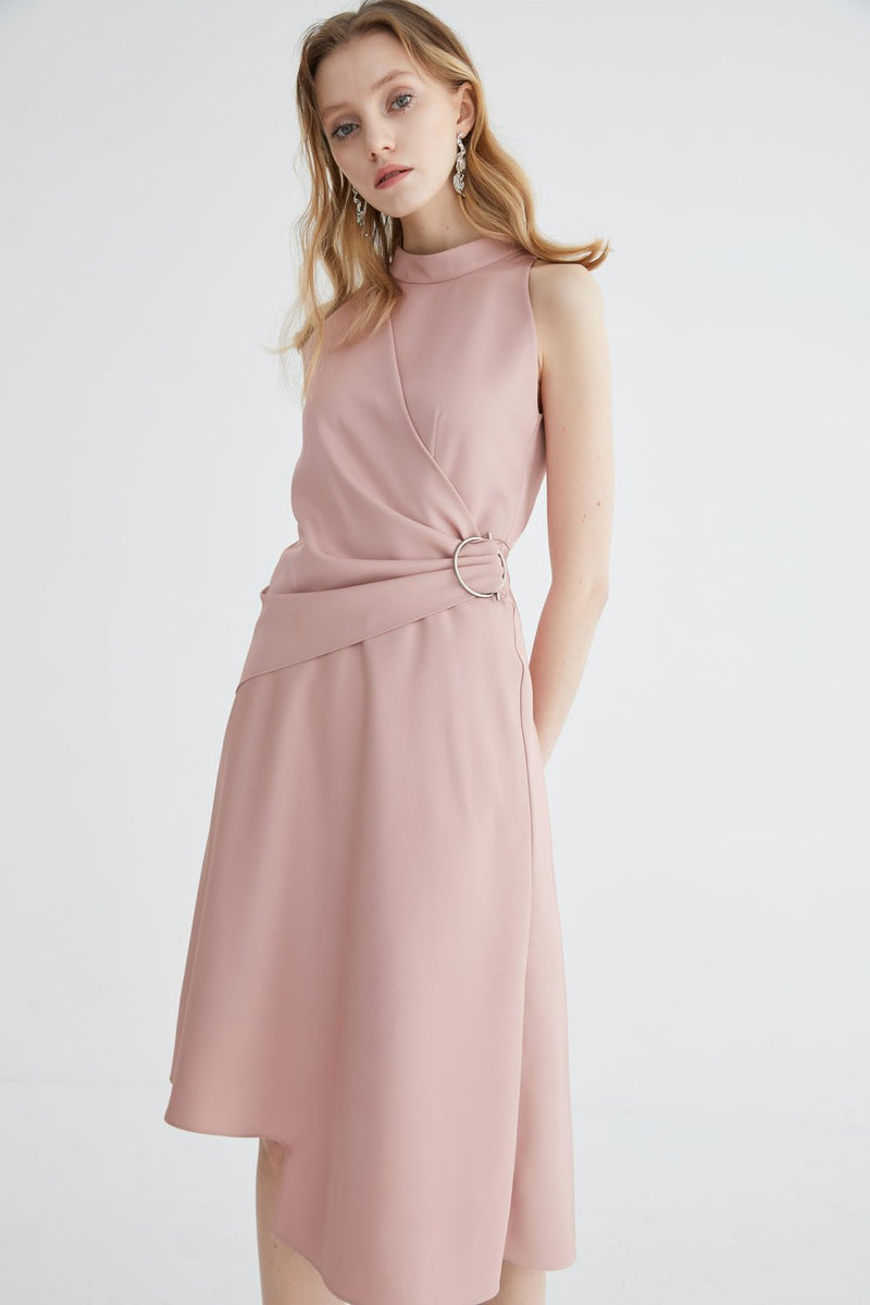 Wrap Dress with Standing Collar - BLANCORE