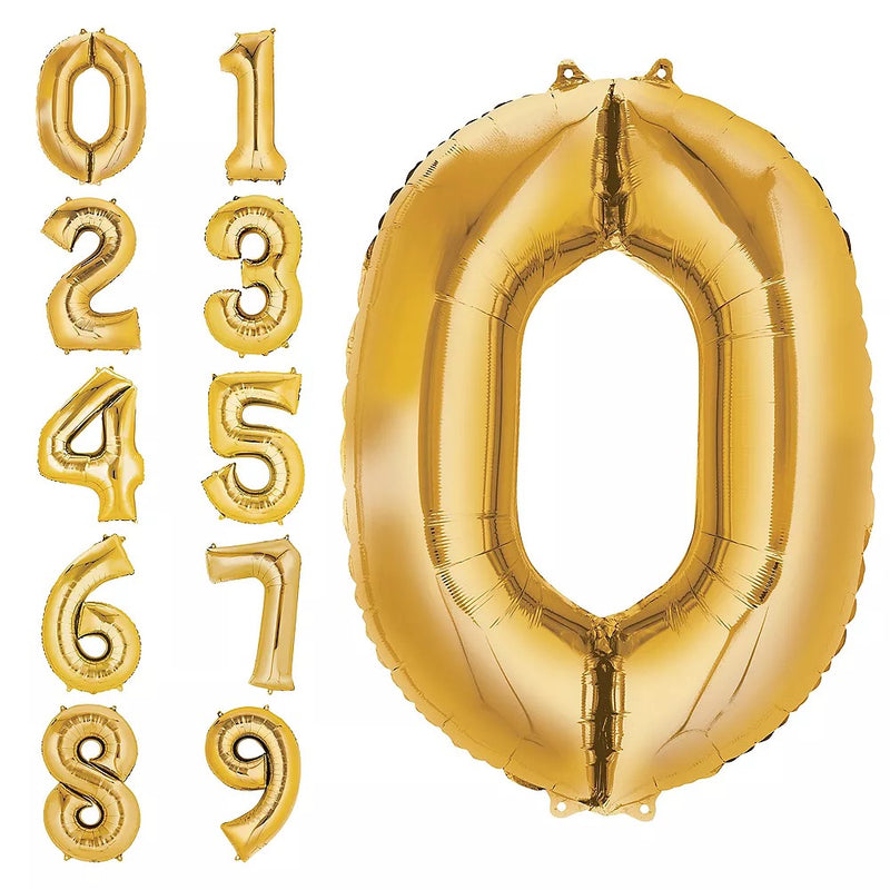 "Helium Foil Balloon- 34"" Gold Numbers 0-9"