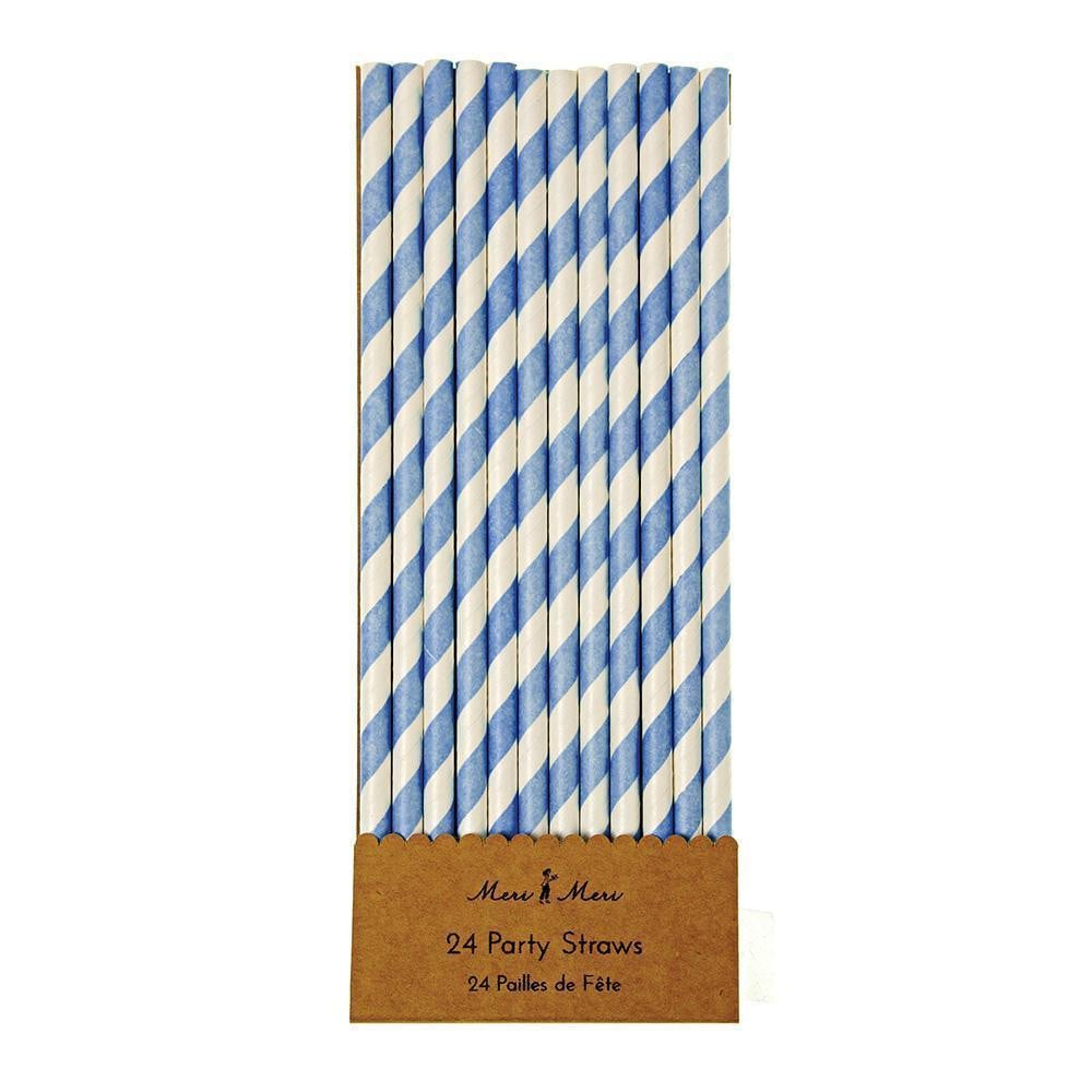 Waterlemon Kids - Blue & White Paper Straws - Paper Straw