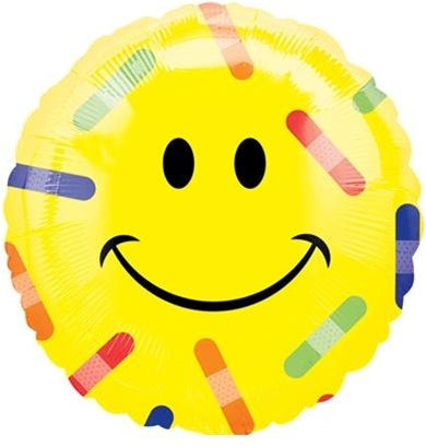 "Helium Foil Balloon- 18"" Smiley Face Bandage"