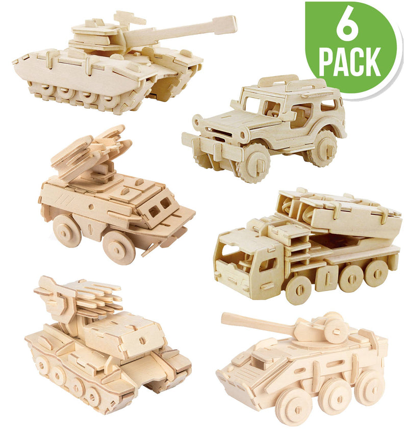 JP2B6, DIY 3D Wooden Puzzle 6 ct, Military Vehicles