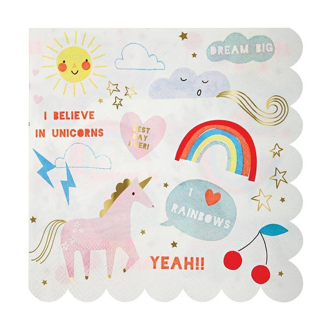 Rainbow Unicorn Napkins Large