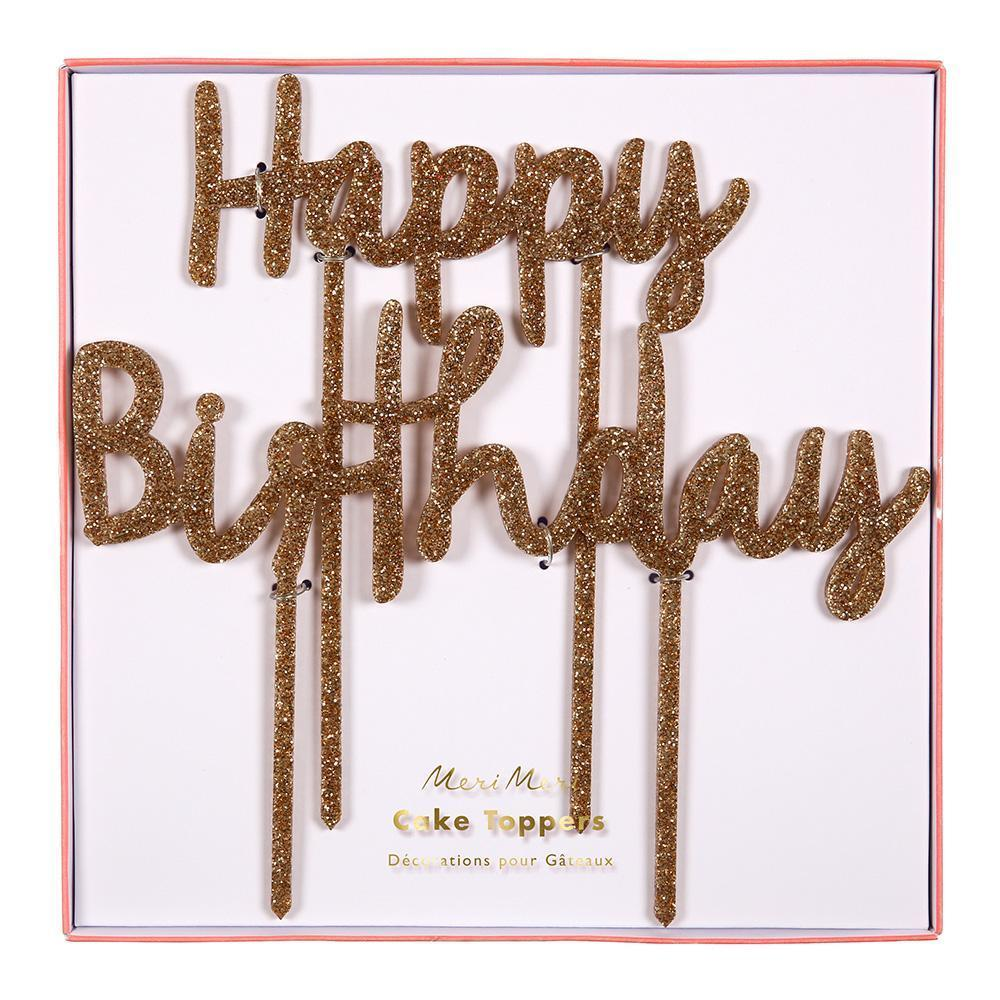 Happy Birthday Gold Glitter Acrylic Cake Toppers