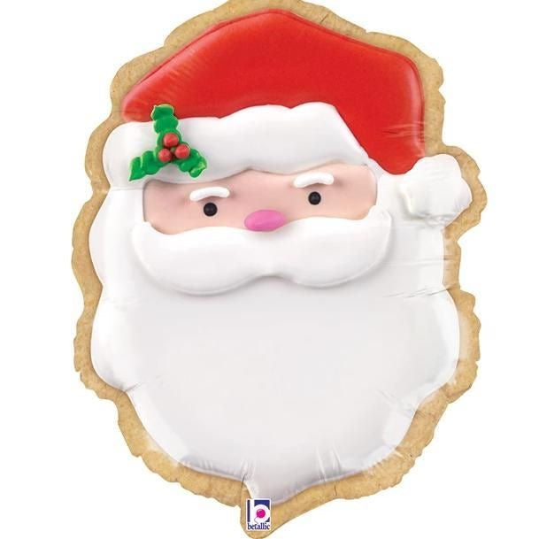 "Helium Foil Balloon- 27"" Santa Cookie"