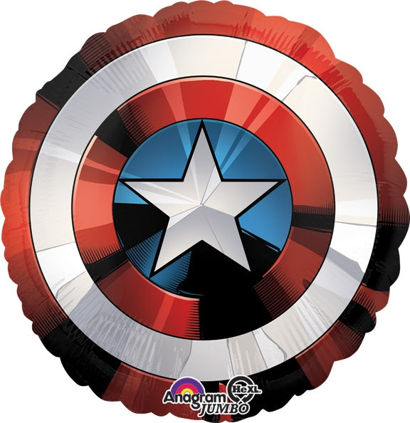 "Waterlemon Kids, BR BALLOONS, Helium Foil Balloon- 28"" Captain America Shield, Balloon, Balloons, helium-filled, superhero"