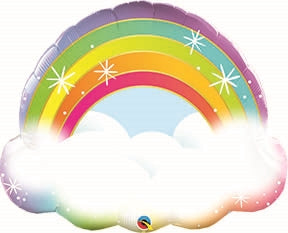 "Helium Foil Balloon- 32"" Rainbow Cloud"