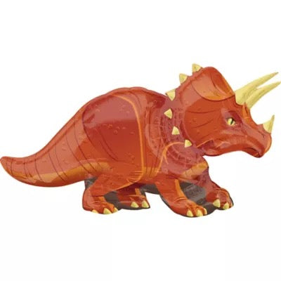 "Helium Foil Balloon- 42"" Red Triceratops"