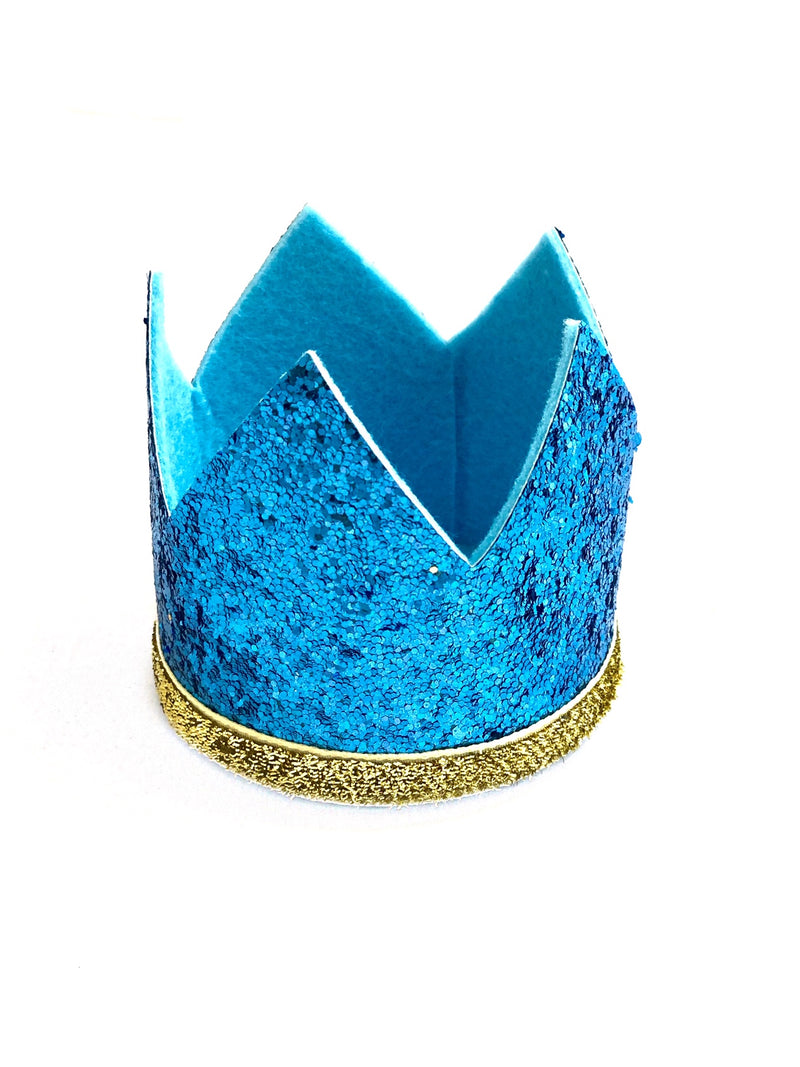 Boy Crown- Glitter Blue and Gold