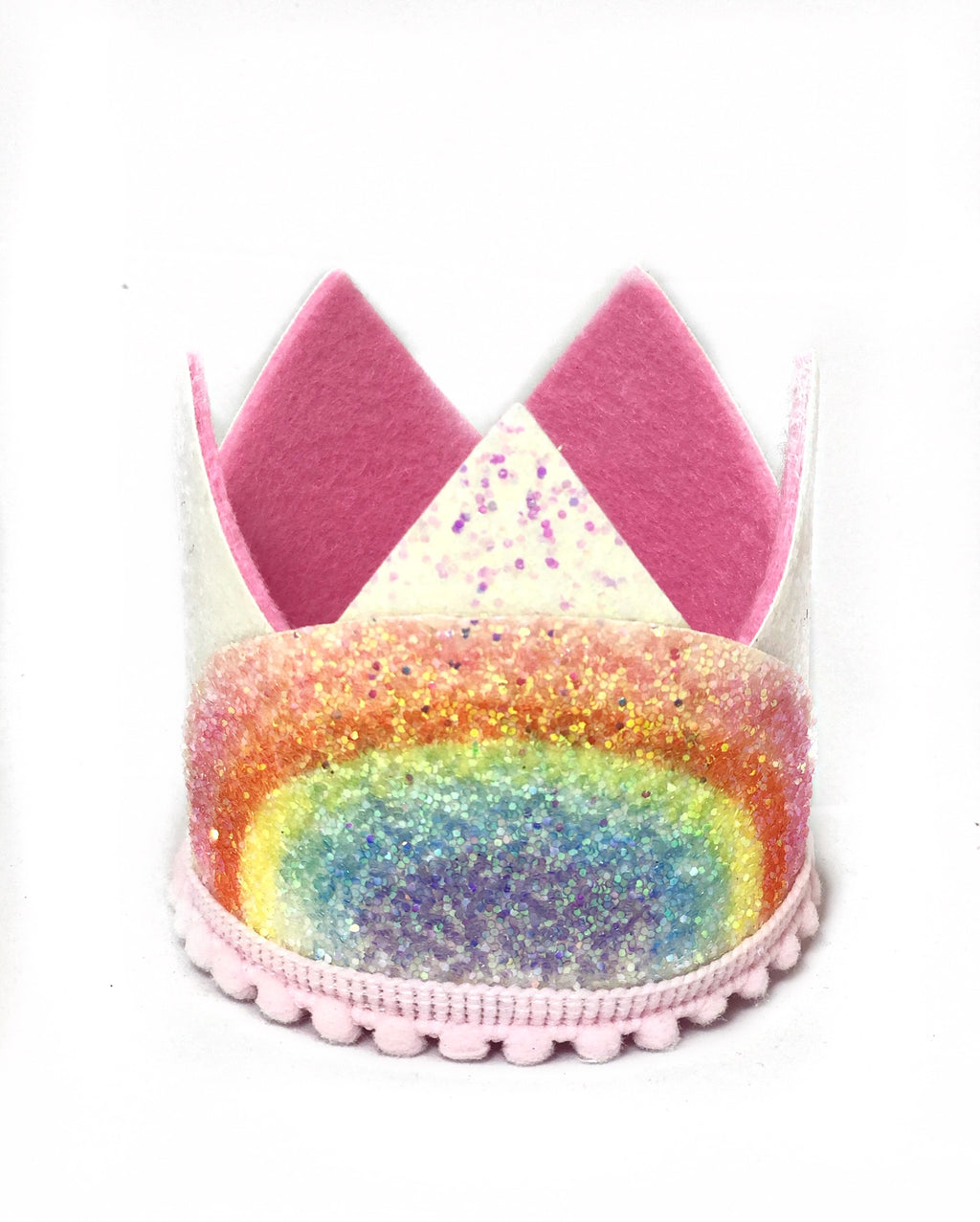 White Glitter Crown- Rainbow