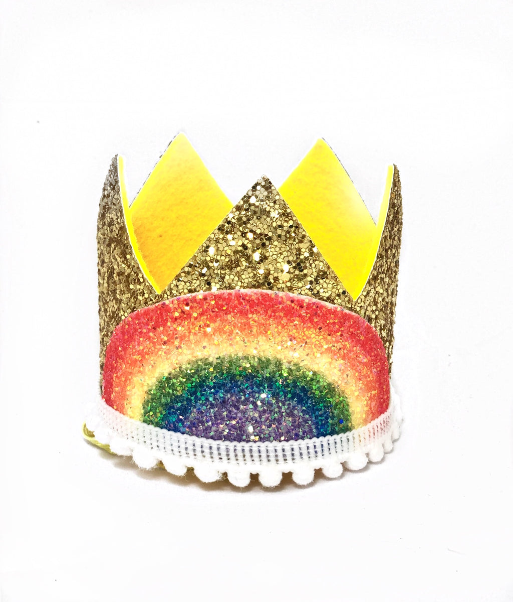 Gold Glitter Crown- Rainbow