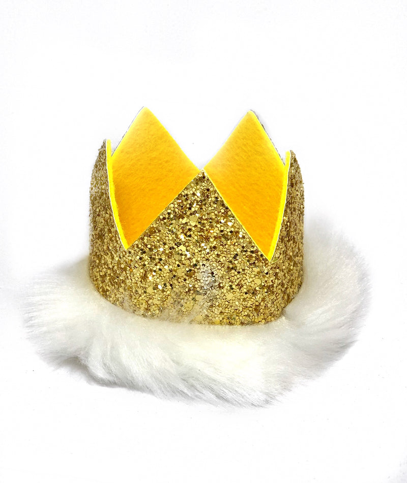 Glitter Crown- Gold Fuzzy Furry
