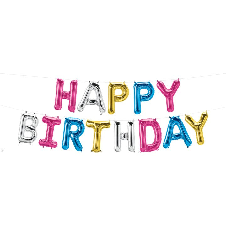 "Foil Balloon- 16"" Letters Kit Happy Birthday MultiColor Balloon"