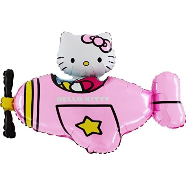 "Helium Foil Balloon- 30"" Jumbo Hello Kitty Pink Plane"
