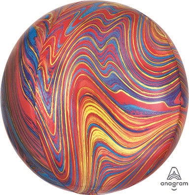 "Helium Foil Balloon- 16"" Multi-Color Marblez Orbz"