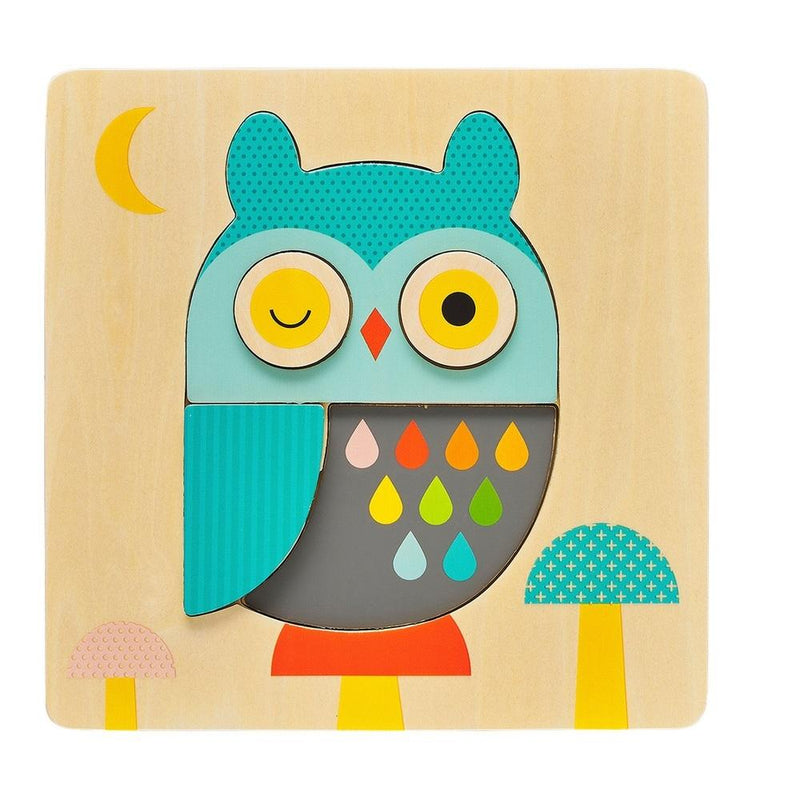 Waterlemon Kids, Petit Collage, Little Owl Chunky Wood Puzzle, Puzzle, Puzzle, Toy, Toys, Wood Toy