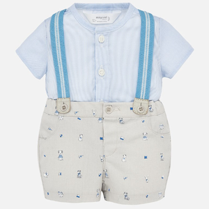 Blue Suspender Pup Outfit Set