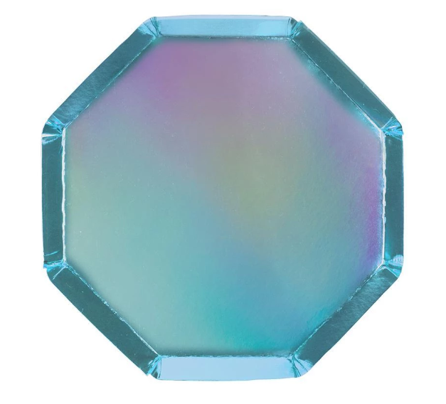 Waterlemon Kids, MERI MERI, Holographic Blue- Small Plates, Plate, Party, Plates, Tableware