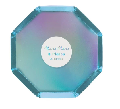 Waterlemon Kids, MERI MERI, Holographic Blue- Cocktail Plates, Plate, Party, Plates, Tableware
