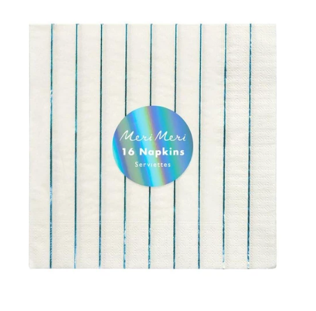 Waterlemon Kids, MERI MERI, Holographic Blue Striped Large Napkin, Napkin, napkin, Party, Tableware