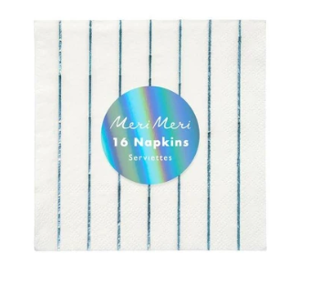 Waterlemon Kids, MERI MERI, Holographic Blue Stripe Small Napkin, Napkin, napkin, Party, Tableware
