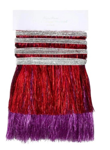 Red & Pink Tinsel Fringe Garland