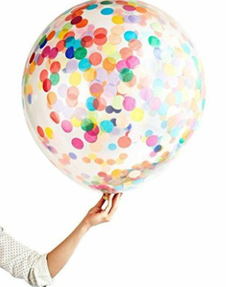 "Helium Latex Balloon- 36"" Clear with Multi-color Confetti"
