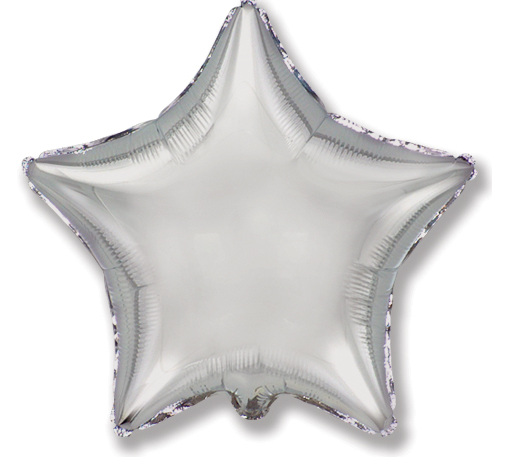 "Helium Foil Balloon- 18"" Pewter Silver Star"