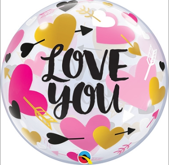 "Helium Deco Balloon- 22"" BUBBLES Love You Hearts & Arrows"