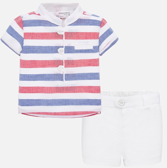 Red & Blue Set White Shorts