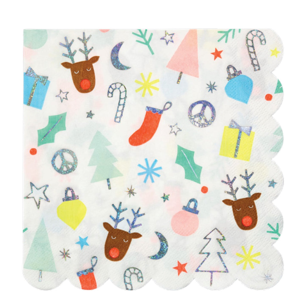 Festive Holiday Fun Large Christmas Napkins