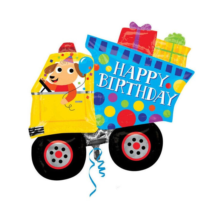 "Helium Foil Balloon- 27"" Happy Birthday Truck"