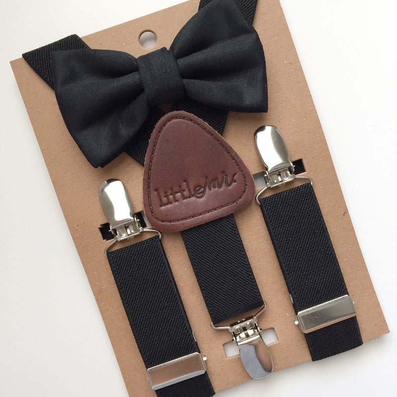 Soild Black Bow Tie/Suspender Set