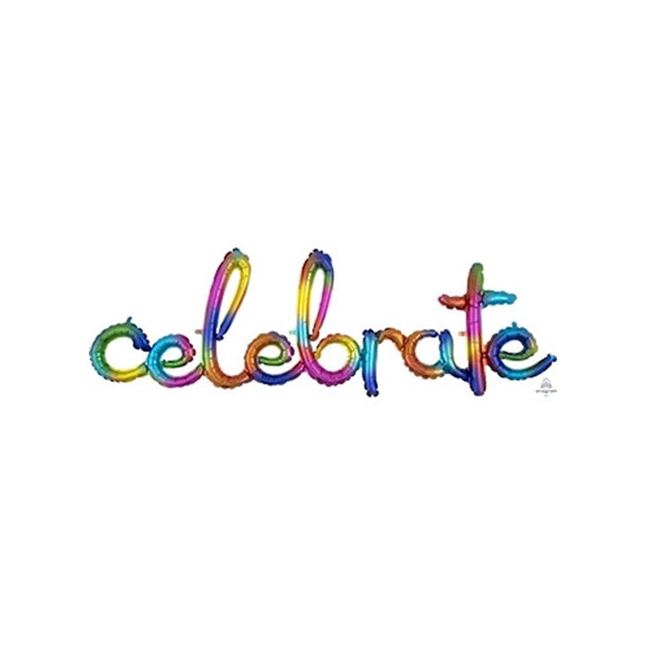 "Foil Balloon- 59"" Rainbow Celebrate Script Balloon"