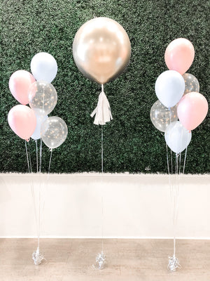 "Helium Latex Balloon- 24"" Gender Reveal Balloon with Confetti"