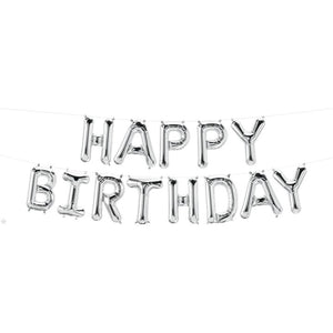 "Foil Balloon- 16"" Letters Kit Happy Birthday Silver Balloon"