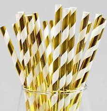 White and Gold Diagonal Straw