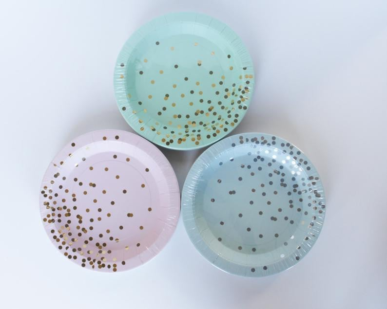 Pastel Plate- Small Gold Dots