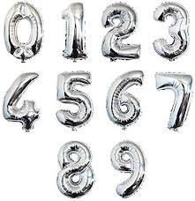"Helium Foil Balloon- 64"" Silver Numbers 1-6"