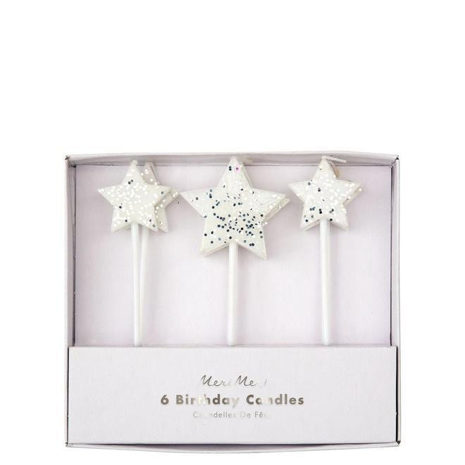 Silver Star Birthday Candle