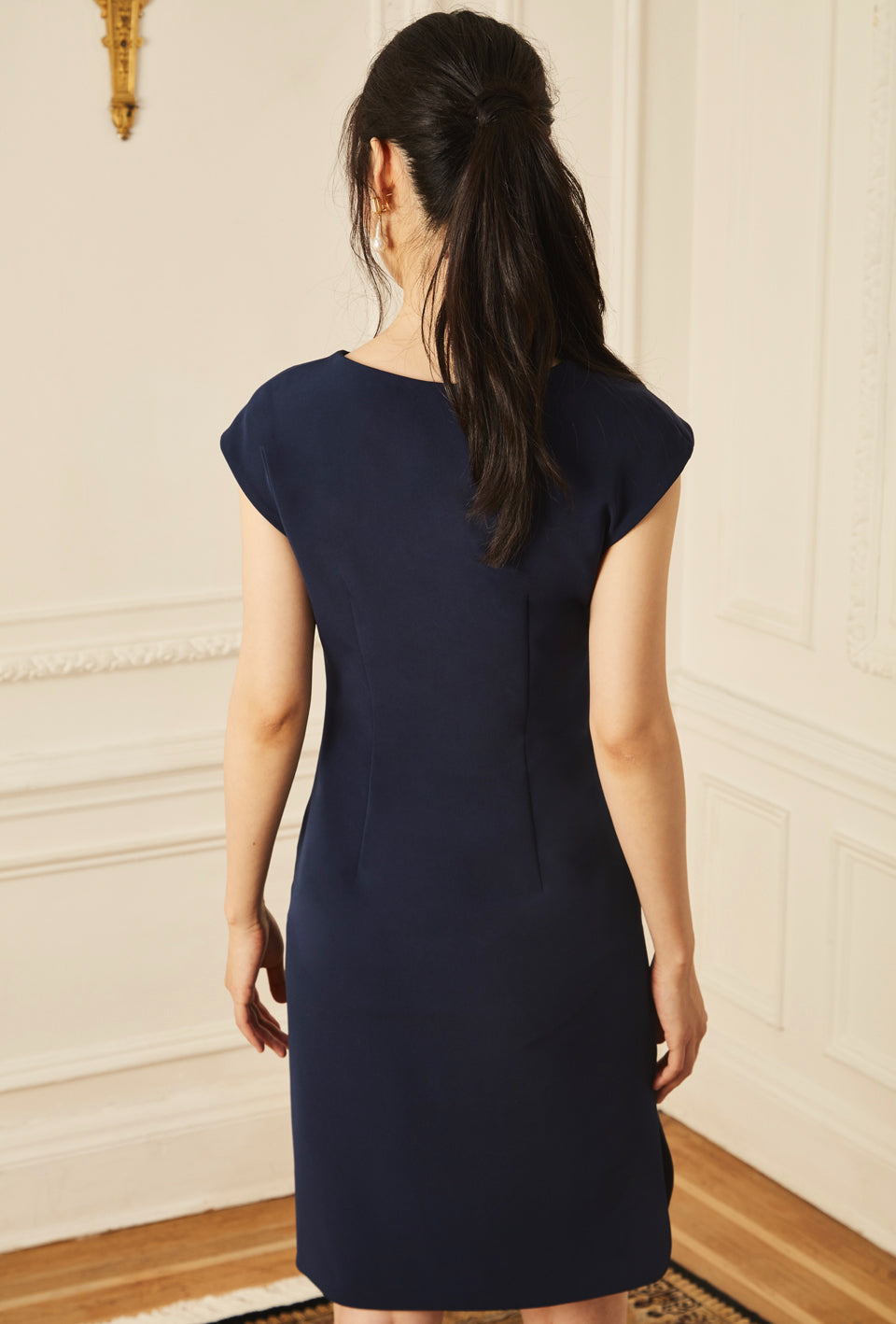 Gathered Day Dress - Navy