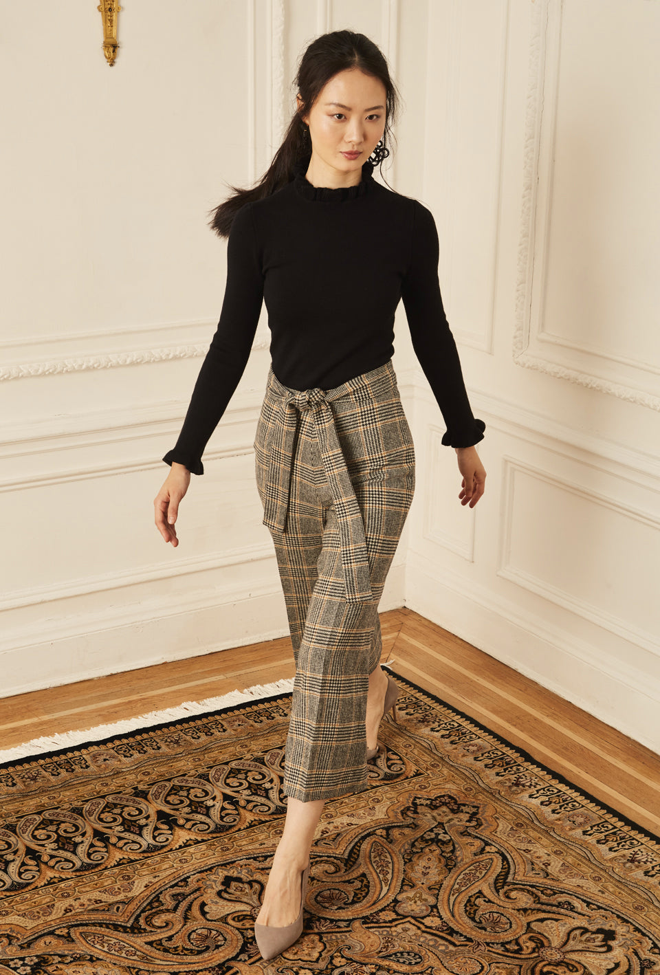 Wide Leg Crop Pant - Plaid Wool