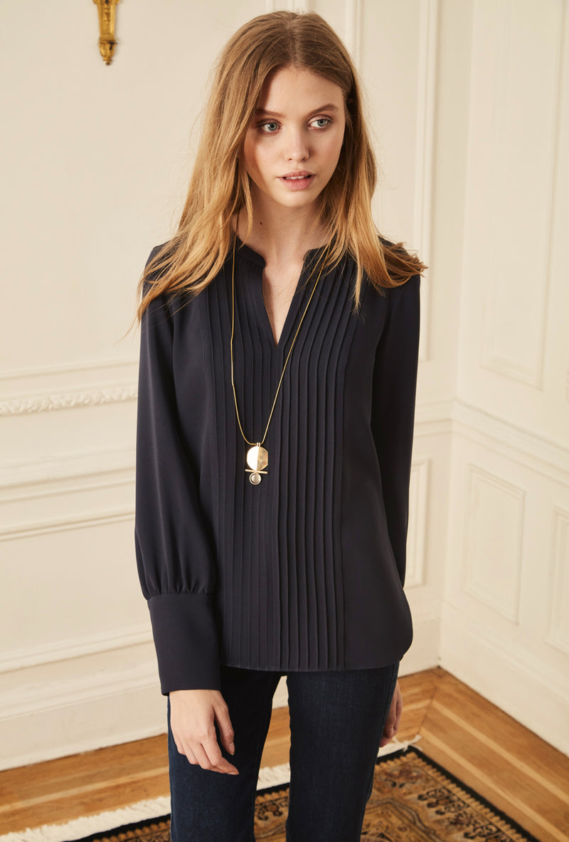 Pintuck Blouse - Navy