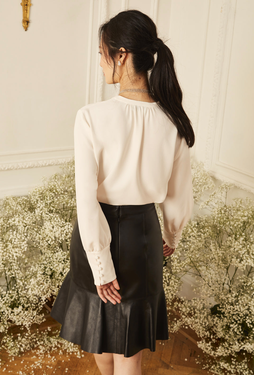 Pintuck Blouse - Ivory
