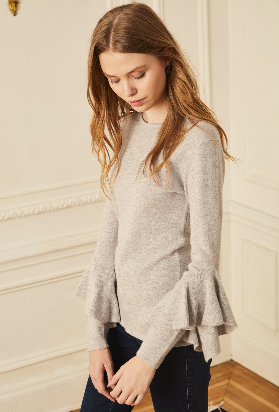 Ruffle Sleeve Sweater - Light Grey