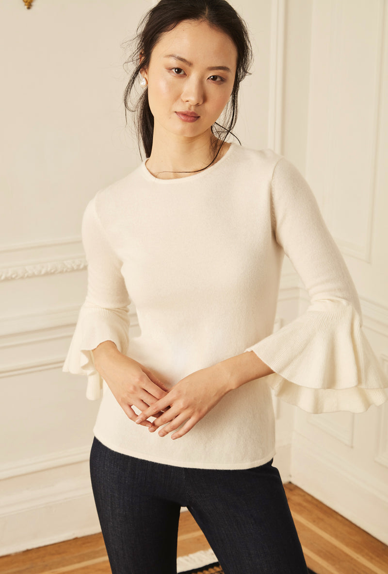 Ruffle Sleeve Sweater - Ivory