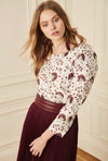 Raglan Ruched Sleeve Blouse - Burgundy Lotus