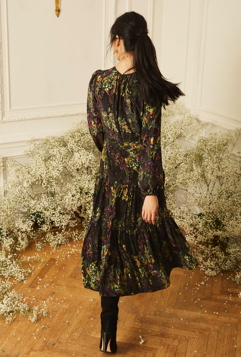 Keyhole Midi Dress - English Garden