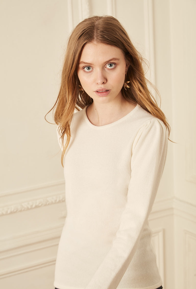 Gathered Sleeve Crewneck - Ivory