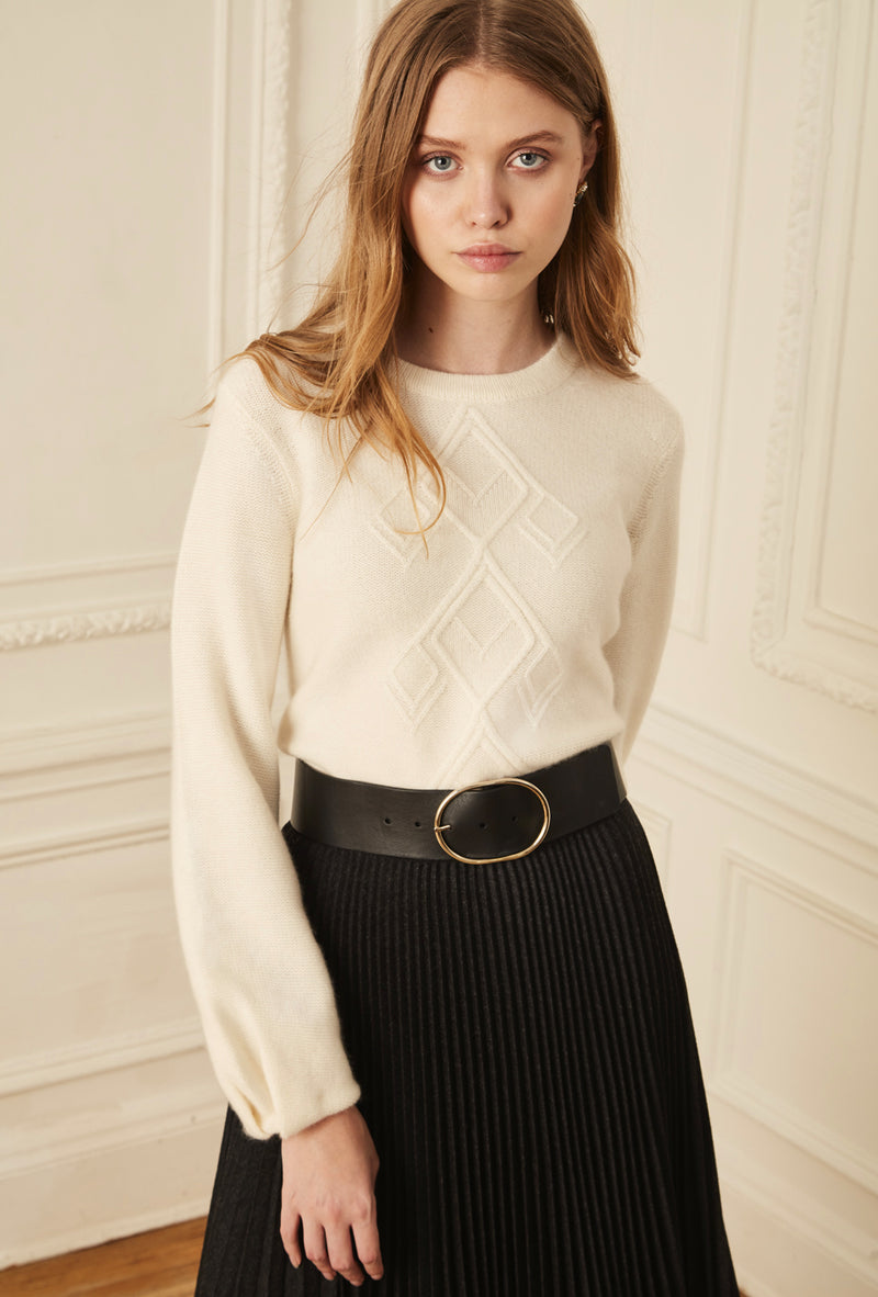 Bulb Sleeve Cable Sweater - Ivory