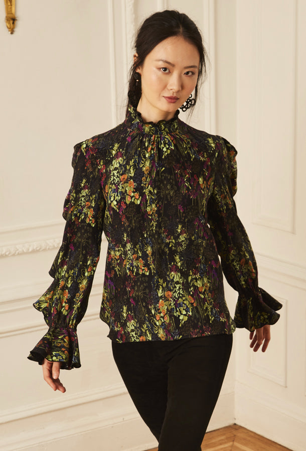Cascade Ruffle Blouse - English Garden
